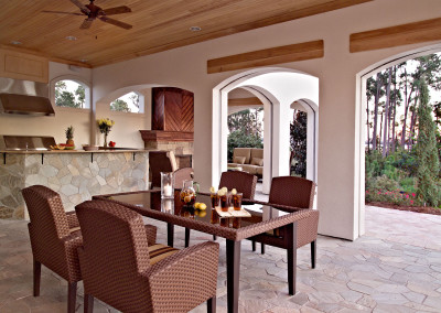 "Outdoor cypress ceiling, trim, and fireplace mantle.<br/> <span class=""gallery-courtesy"">Courtesy James Wilson</span>"