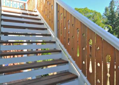 Cypress stair railing. Courtesy Josh Wynn Construction