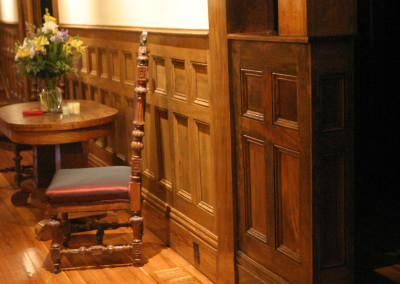 "Cypress wainscoting.<br/> <span class=""gallery-courtesy"">Courtesy Acadian Cypress and Hardwoods</span>"