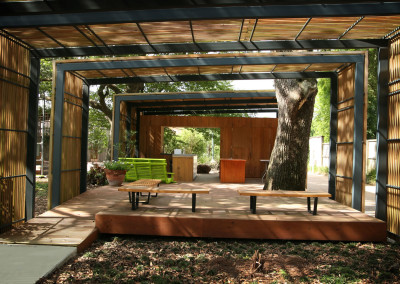 New Orleans Botanical Garden with cypress decking and rain screen. Courtesy Acadian Cypress and Hardwoods