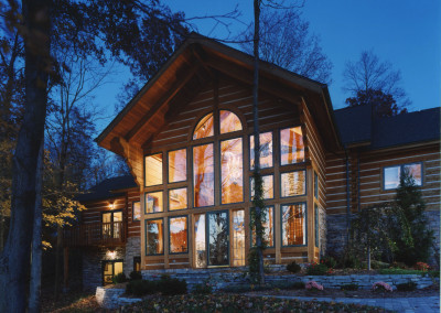 Cypress window framing. Courtesy B K Cypress Log Homes, Inc.
