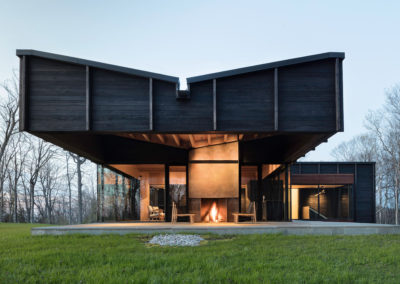 "Charred and sealed cypress exterior<br/><span class=""gallery-courtesy"">Photograph by Paul Warchol</span>"